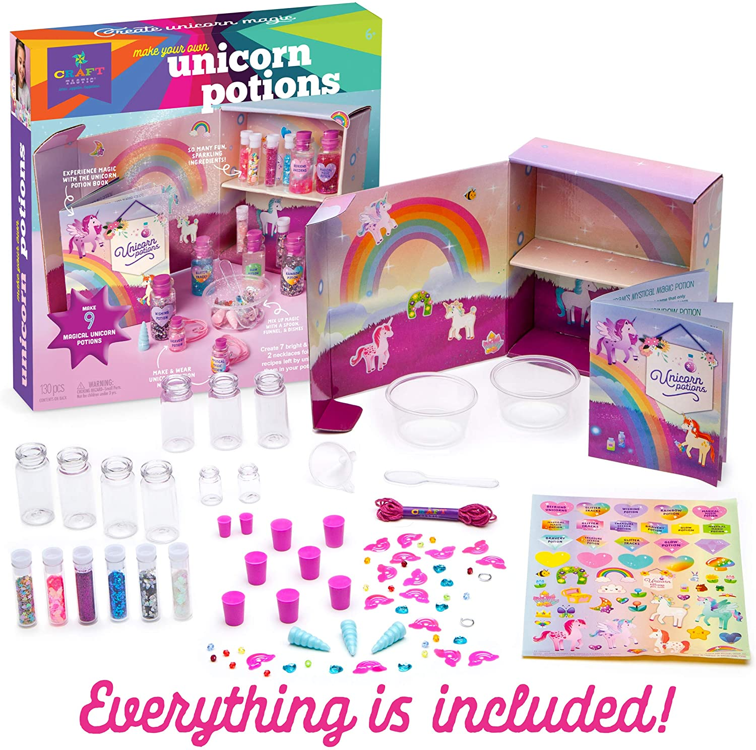 Materials included in Unicorn Potions Craft Kit